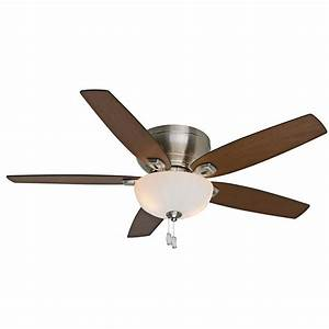 Hugger ceiling fan with light lowes : Casablanca durant in brushed nickel flush mount