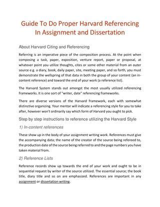 guide   proper harvard referencing  assignment  dissertation  williamriley issuu
