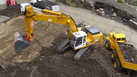 rc excavator liebherr  big rc equipment heavy rc machines youtube