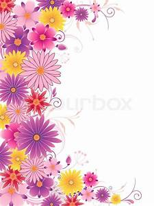 Colored floral background with ornament and flowers