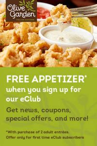 olive garden e club free appetizer at olive garden common sense with money