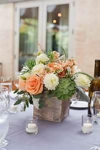 peach, white, ivory, green, succulents wedding centerpiece ...