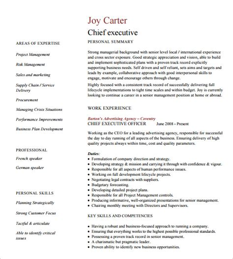 Free Executive Resume Format by 10 Executive Resume Templates Free Sles Exles