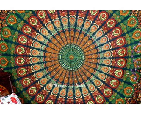 Indian Mandala Tapestry In Peacock Print On Inspirationde