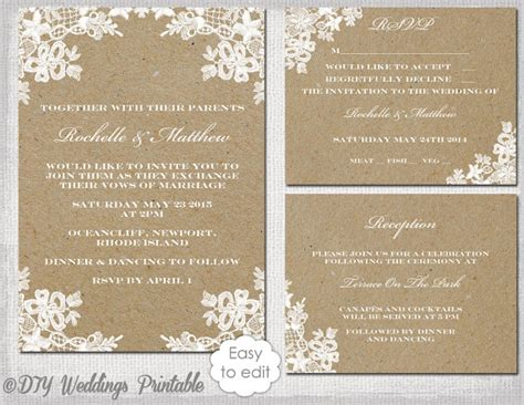 wedding invite template download rustic wedding invitation set diy quot rustic lace quot printable