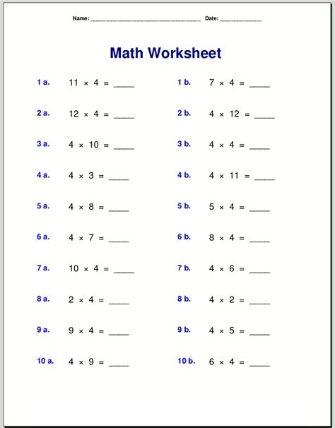 Easy 4 Times Table Worksheets  Activity Shelter