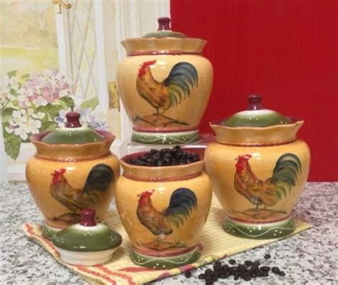 country kitchen canisters rooster canister set country kitchen storage decor 4 pc