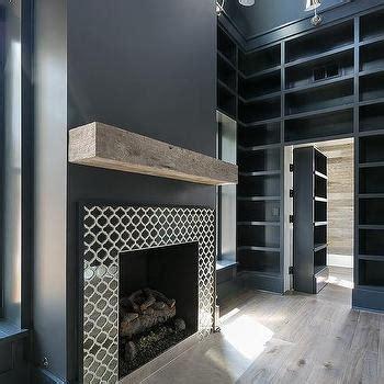 Black Herringbone  Ee  Fireplace Ee   Mantel Tiles Transitional