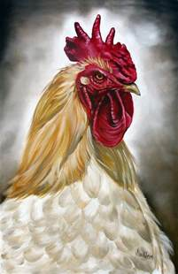 Rooster Head Painting