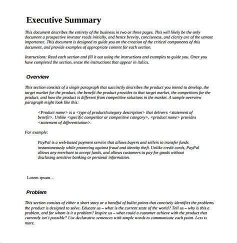 project executive summary template 31 executive summary templates free sle exle format free premium templates