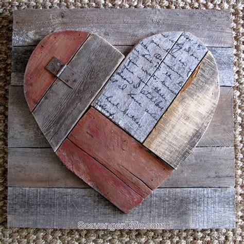 rustic pallet wood valentines heart scavenger chic