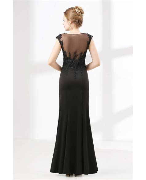 Floor Length Petite Black Formal Dress With Beading Lace ...