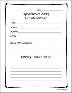 Fiction Book Report - Independent Reading Report - Report