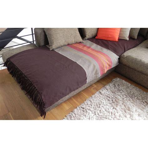 jetée de canapé coton aztèque chocolat coloré 200x240cm