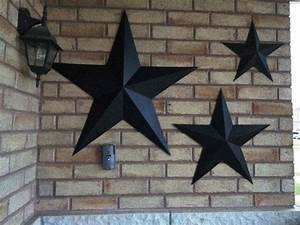 Set of large metal tin barn star wall by
