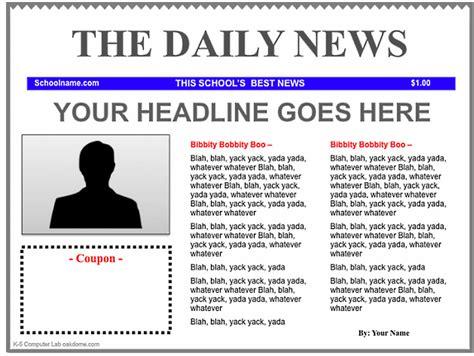 Free Newspaper Template For Kids Costumepartyrun