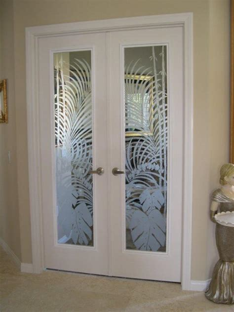 Etched interior french doors   Hawk Haven
