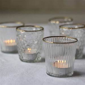 Ribbed, Clear, Glass, Tea, Light, Holder, With, Gold, Rim, U2013, The, Wedding, Of, My, Dreams