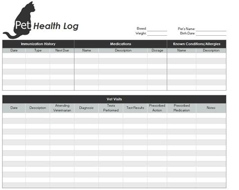 Pet Health Record Template