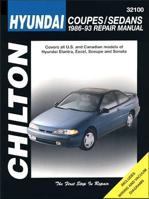 car repair manual download 1993 hyundai scoupe spare parts catalogs 1986 1993 hyundai elantra excel scoupe sonata repair manual