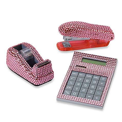 pink desk accessories rhinestone desk set in pink bed bath beyond