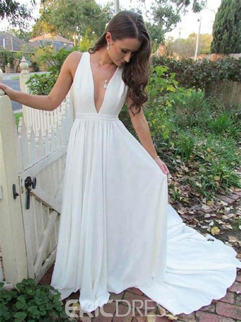 ericdress chiffon deep  neck beach wedding dress