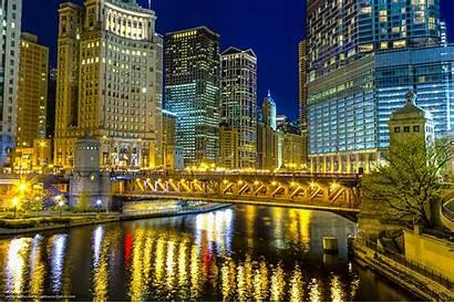 Chicago Illinois Magnificent Michigan Bridge Desktop Night