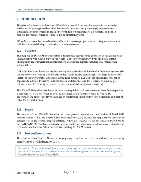 plan of action and milestones template plan of and milestones poa m