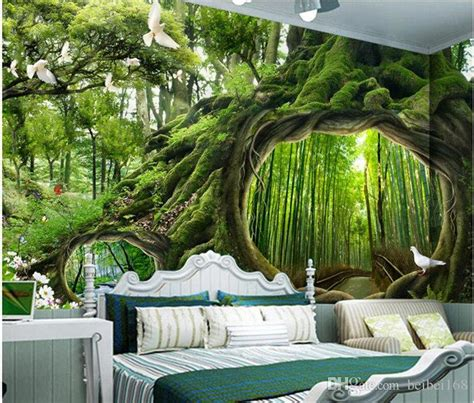 custom mural photo  room wallpaper magic forest pigeon