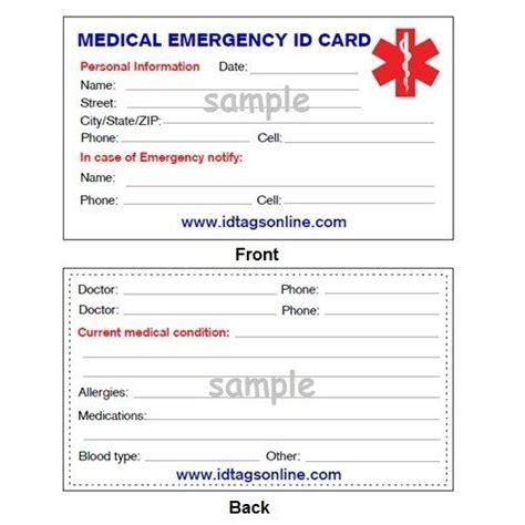 medical emergency wallet card  medical alert id