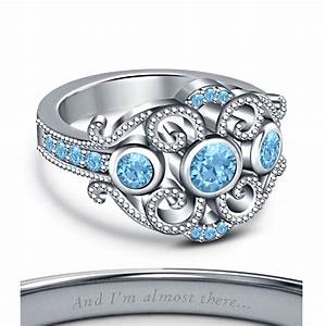 rd aquamarine stone 925 sterling sliver platinum plated With jasmine wedding ring