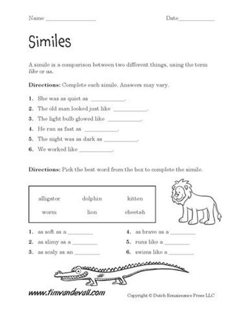 printable simile worksheets simile worksheet similes