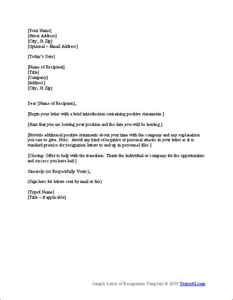 resignation letter sample  short notice resignation