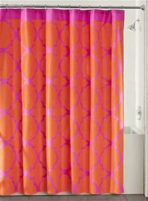 coral colored shower curtain furniture ideas
