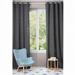Rideau A Oeillet : rideau illets gris 140 x 300 cm chenille maisons du monde ~ Dallasstarsshop.com Idées de Décoration