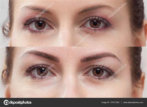 sourcil de maquillage permanent avant  apres