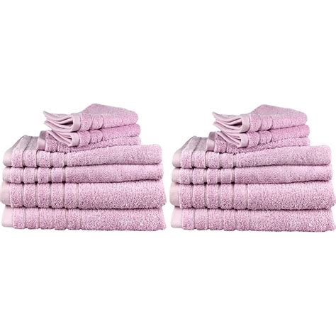 14pc soft egyptian cotton bath towel set in pink buy 14