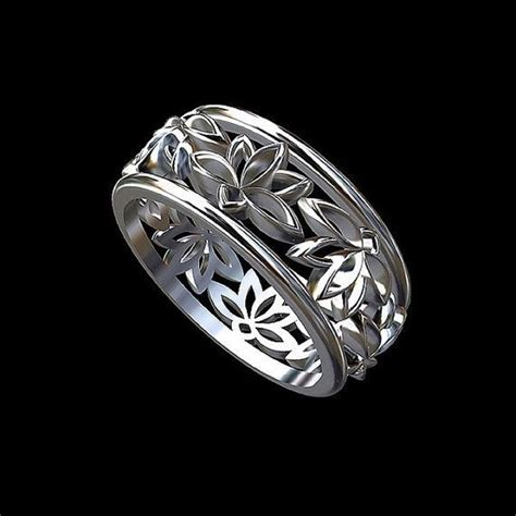 solid  white gold sacred lotus flower buddhist symbol