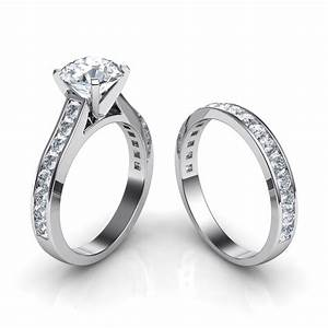 Channel set engagement ring and wedding band bridal set for Wedding ring engagement ring set
