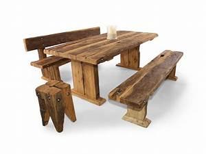 Tischgruppe Mit Bank Und Stühlen : wikinger sitzbank massivholzsitzbank mit lehne 140 cm unbehandelt ~ Bigdaddyawards.com Haus und Dekorationen