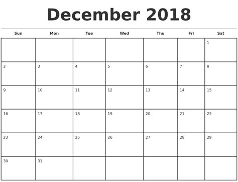 Monthly Calendar Template December 2018 Monthly Calendar Template