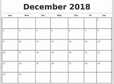 Monday To Sunday Calendar Template December2018