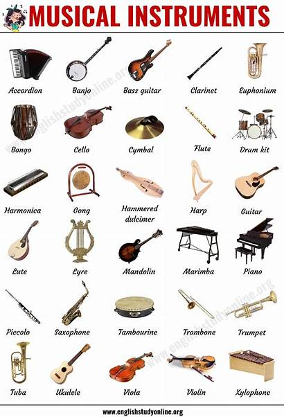 Instruments Musical Types English Popular Vocabulary Englishstudyonline
