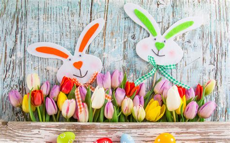 happy easter decor  bunny faces  tulips wide