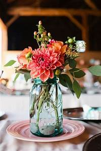 Mason, Jars, Filled, In, With, Colourful, Flowers, As, Wedding, Centerpieces