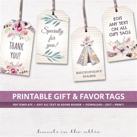editable boho tags gifts favors printable template
