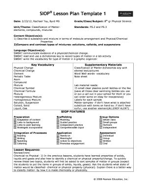 Siop Lesson Plan Template 2 Exle by Siop Lesson Plan Template 3 Fill Printable