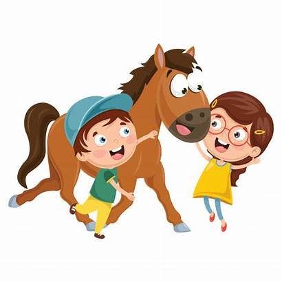Horse Bambini Cheval Vektor Dessin Cartoon Caballo