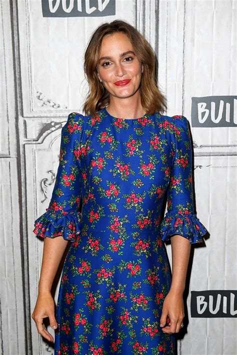 leighton meester wears a blue floral dress while visiting ...