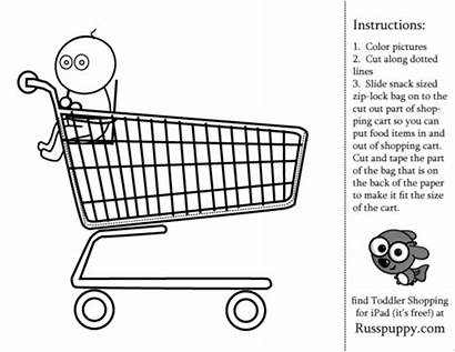 Coloring Shopping Pages Activity Preschool Toddler Grocery